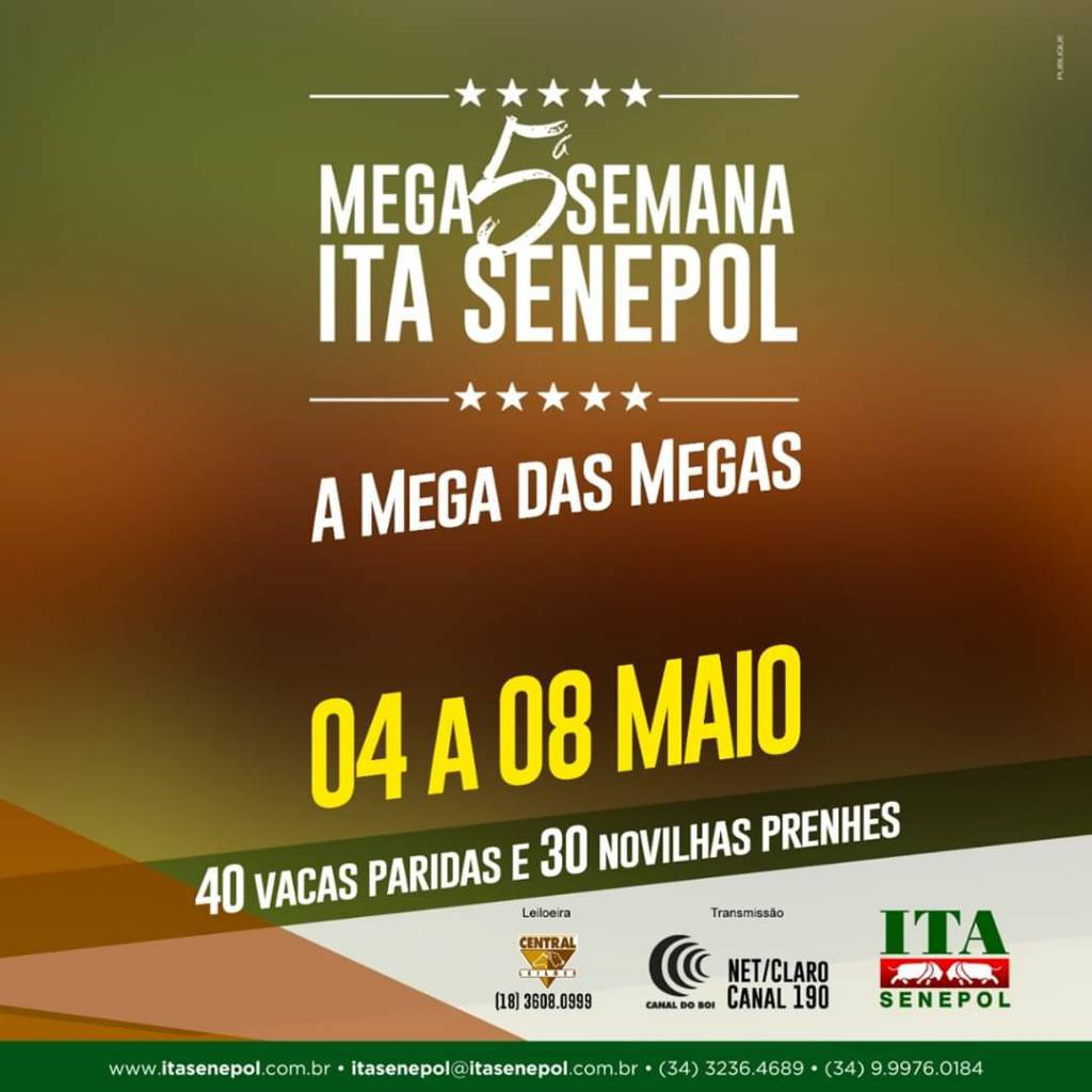 LEILÕES:MEGA SEMANA ITA SENEPOL/32º LEILÃO VIRTUAL RIBALTA MSA/ACOMPANHE A AGENDA COMPLETA AQUI NO PORTAL GHF.